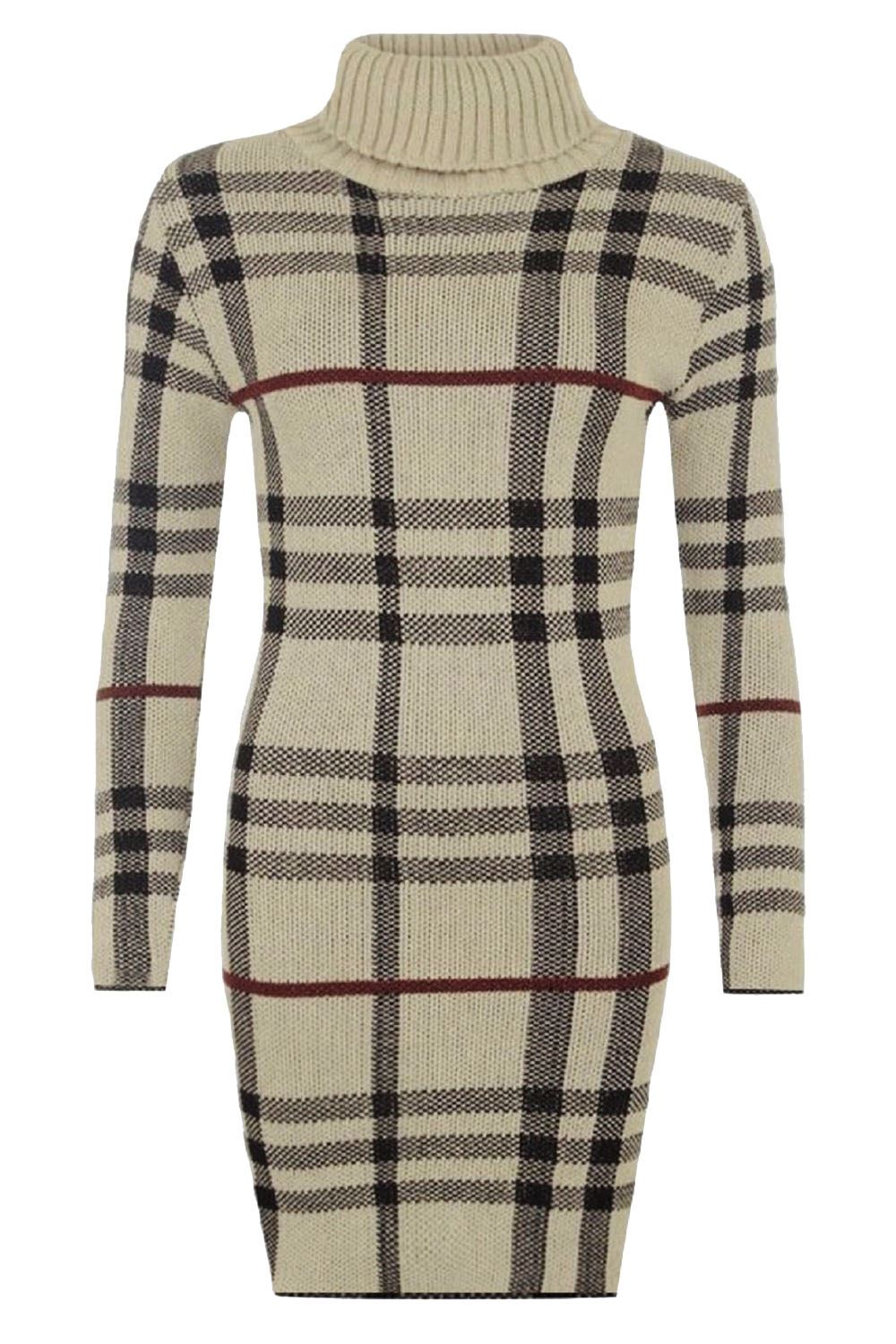 New-Ladies-Womens-Knitted-TARTAN-Check-POLO-Neck-Long-Sleeves-Bodycon-MIDI-Dress