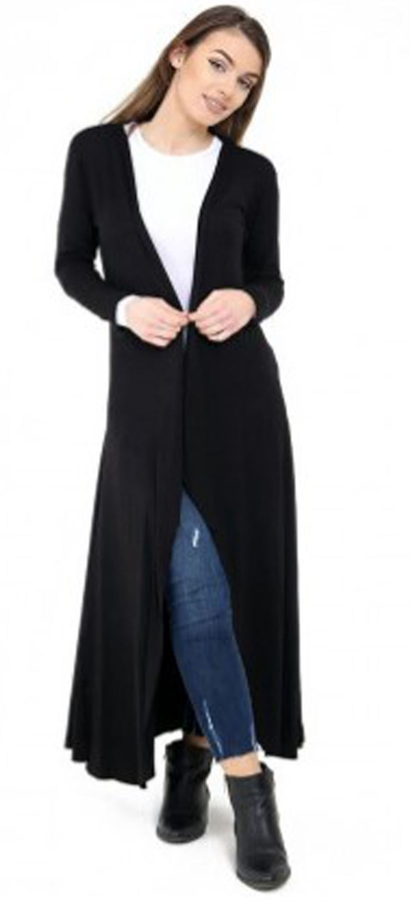 New Ladies Womens Open Panelled Long Sleeves Longline MAXI ...