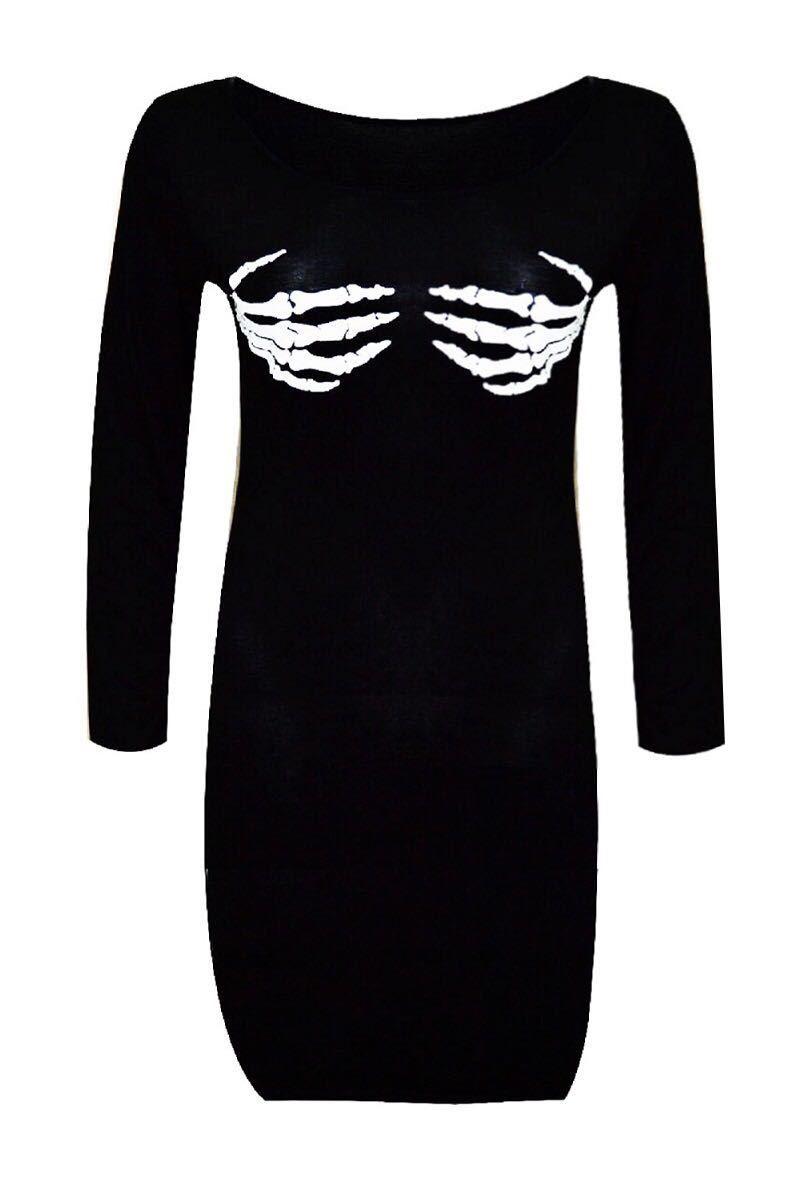5443f62c2c8f Womens Ladies Halloween Skeleton Hand Boobs Bones Print Tunic ...