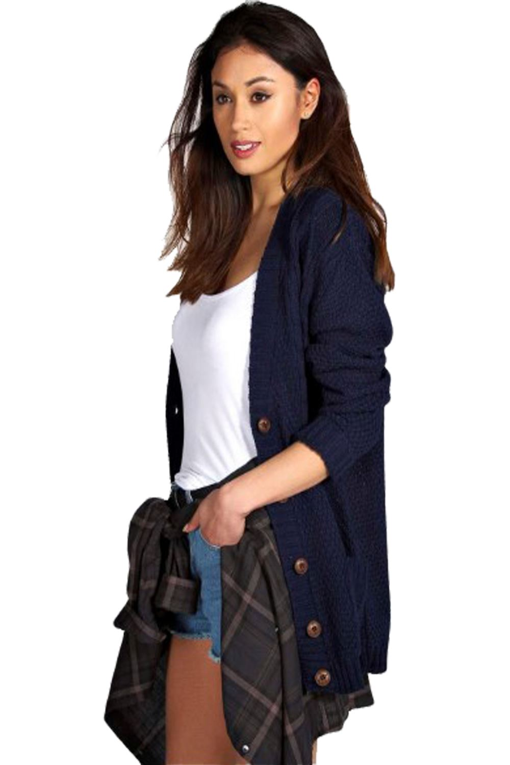 New Ladies Womens Girls Boyfriend Button front Cardigan Jumper ...