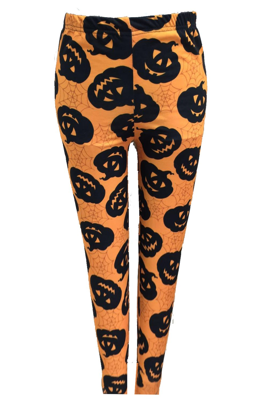 ladies halloween orange black leggings pants spider web - Pumpkin Pictures To Print