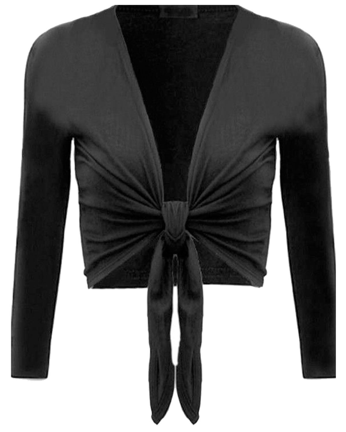 New Girls Ladies Front TIE Up Knot Crop Shrug Wrap Open Bolero ...