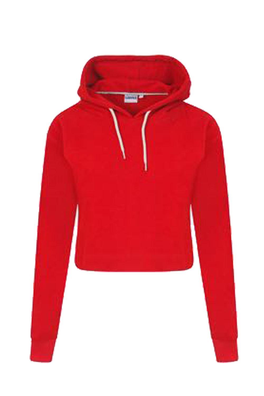 Womens Pullover Fleece Plain Cropped TOP Crop Hoody Sweatshirt ...