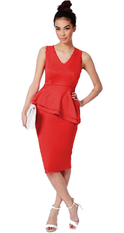 New-Ladies-Womens-Side-Slant-Peplum-Frill-Dress-Pencil-Bodycon-Midi-Skirt-8-22