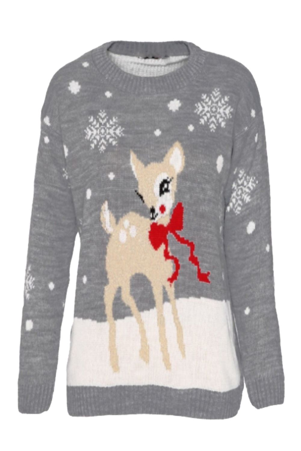 Ladies Women Novelty Xmas Reindeer & Snowflakes Christmas Knitted Sweater...