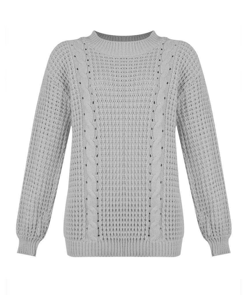 New Ladies Womens Baggy Oversized Grid Chunky Cable Knitted TOP ...
