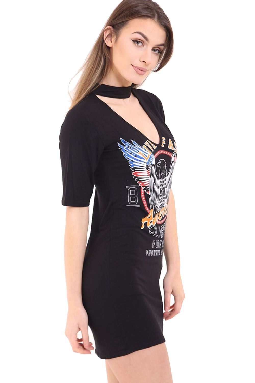 New ladies womens long t shirt choker neck dress american for Eagles t shirt womens