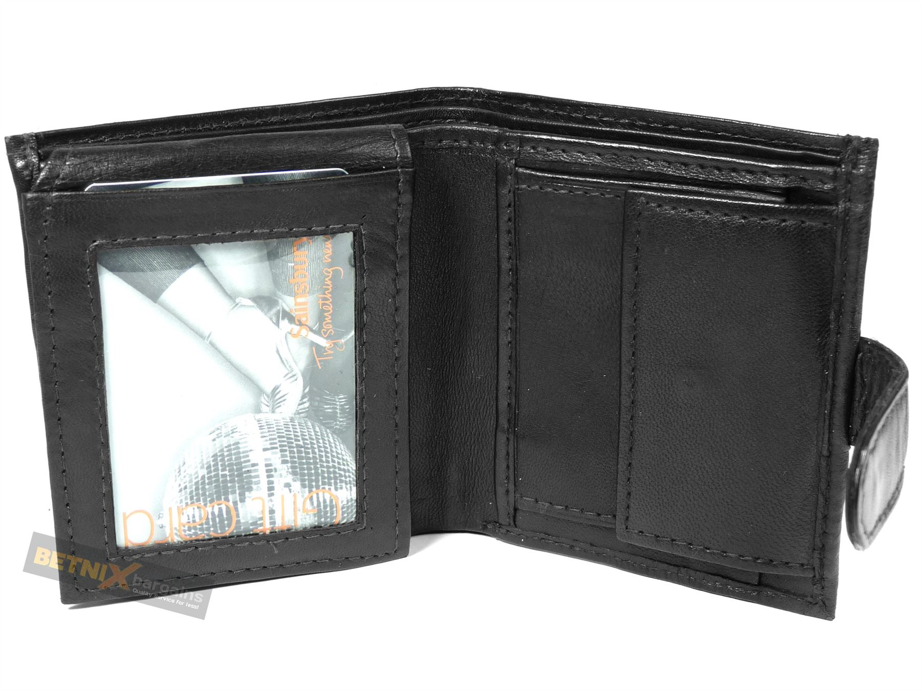 Gent 39 s leather wallet black or brown 3 card slots 2 id for 2 id window wallet