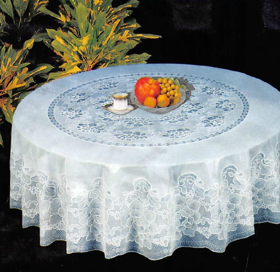 New Luxury 60 Quot Round Lace Vinyl Tablecloth White Or Cream