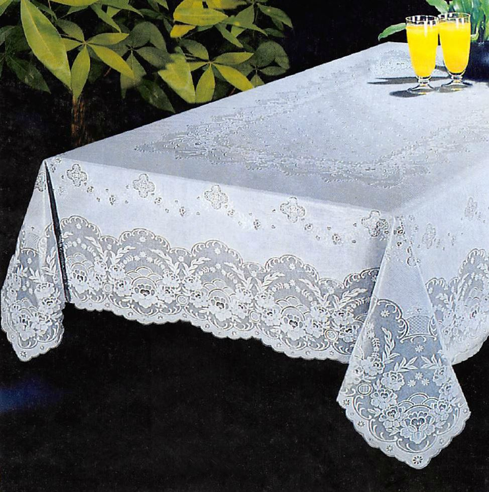 New luxury vinyl lace tablecloth oblong rectangle 52 x 70 for Table linens 52 x 70