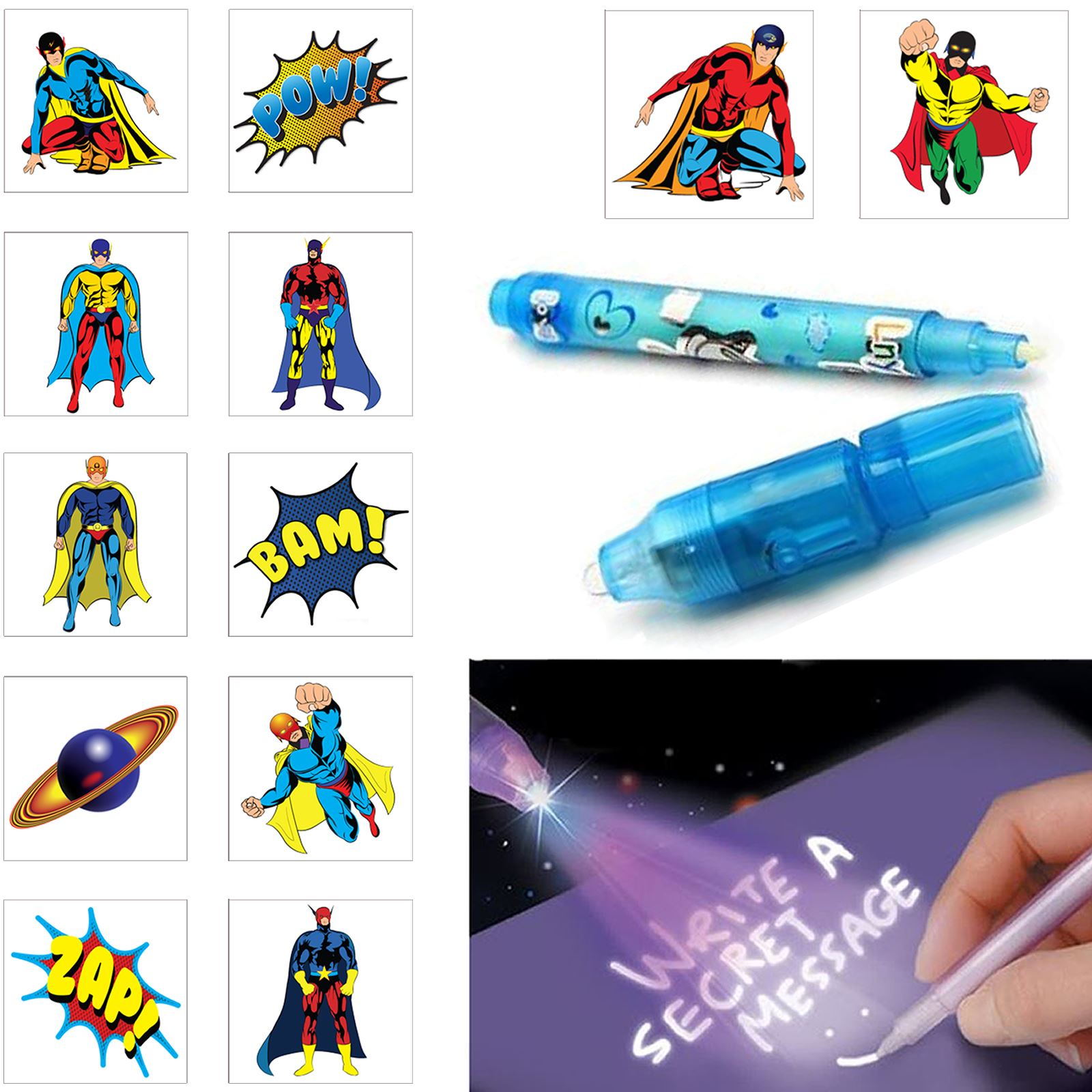 12 childrens superhero tattoos 1 spy pen kids loot party for Superhero temporary tattoos