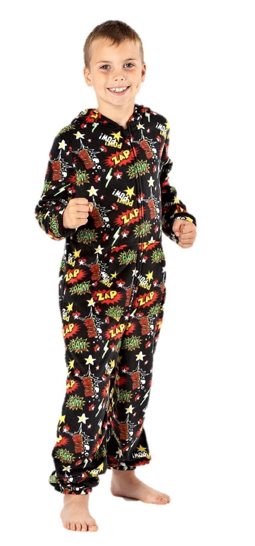 boys onesie all in one pyjamas one piece pajama romper age 7 8 9 10 11 12 13 ebay. Black Bedroom Furniture Sets. Home Design Ideas