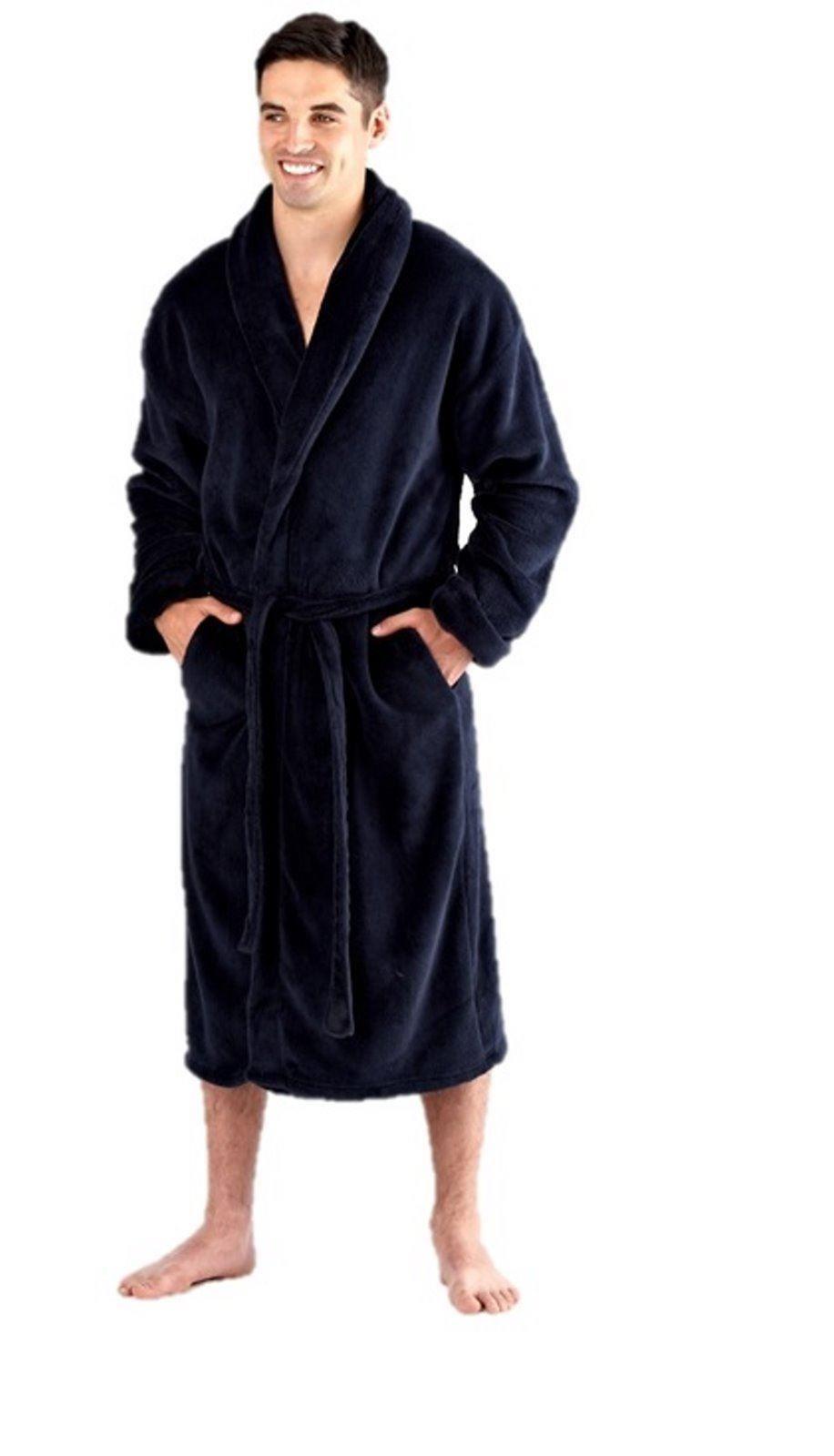 mens fleece dressing gown bath robe wrap black navy m l xl xxl ebay