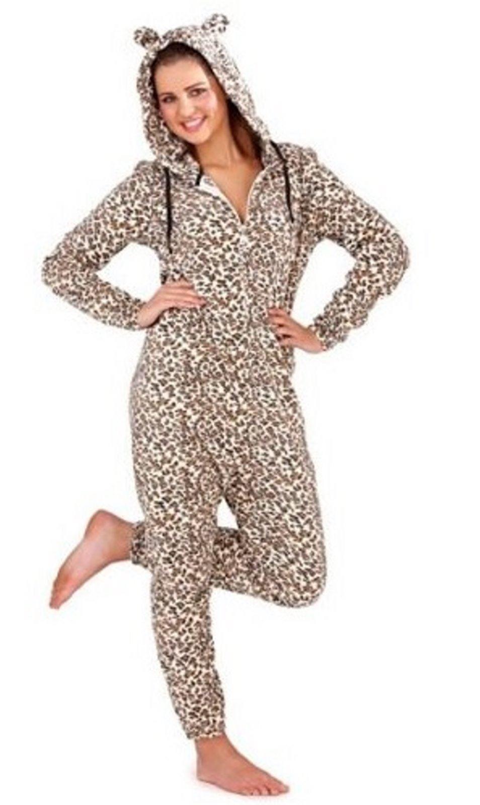 damen flauschig einteiler mit kapuze leopard overall schlafanzug pyjama pj ebay. Black Bedroom Furniture Sets. Home Design Ideas