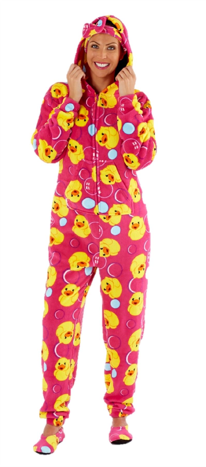 ladies fleece onesie pyjamas one piece pajama free matching headband slippers ebay. Black Bedroom Furniture Sets. Home Design Ideas