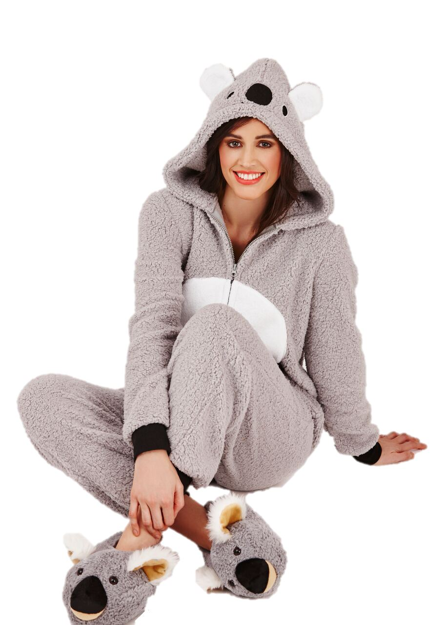pyjama combinaison koala polaire chaud une pi ce capuche pyjama de femme ebay. Black Bedroom Furniture Sets. Home Design Ideas