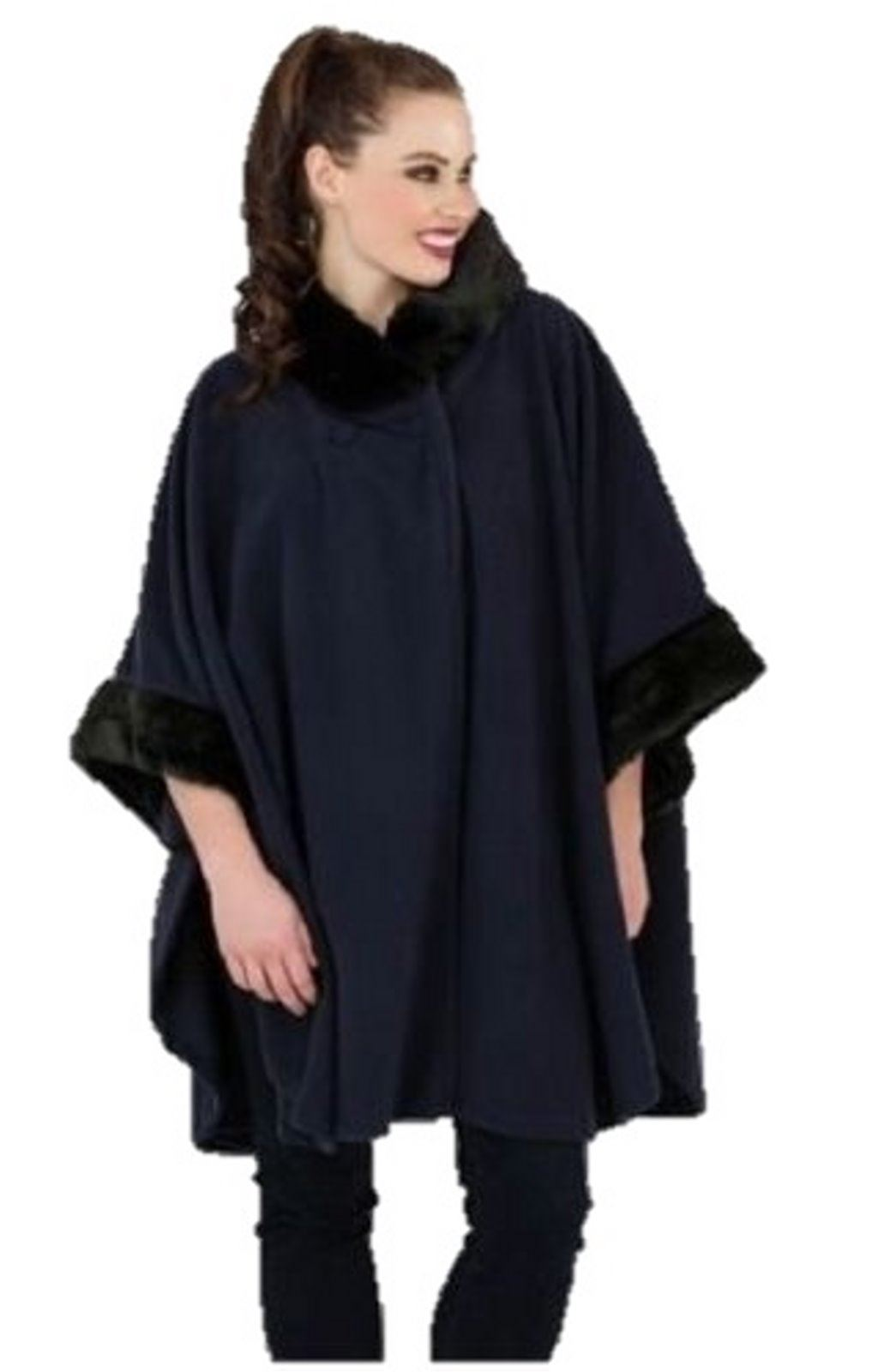 manteau cape poncho polaire femme fausse fourrure grandes tailles ebay. Black Bedroom Furniture Sets. Home Design Ideas