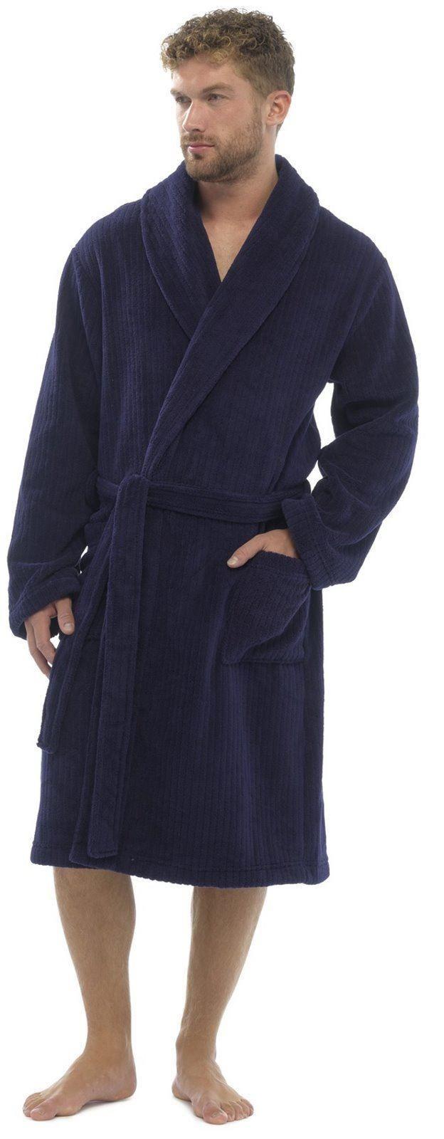 robe de chambre homme polaire peignoir super doux m l xl ebay. Black Bedroom Furniture Sets. Home Design Ideas
