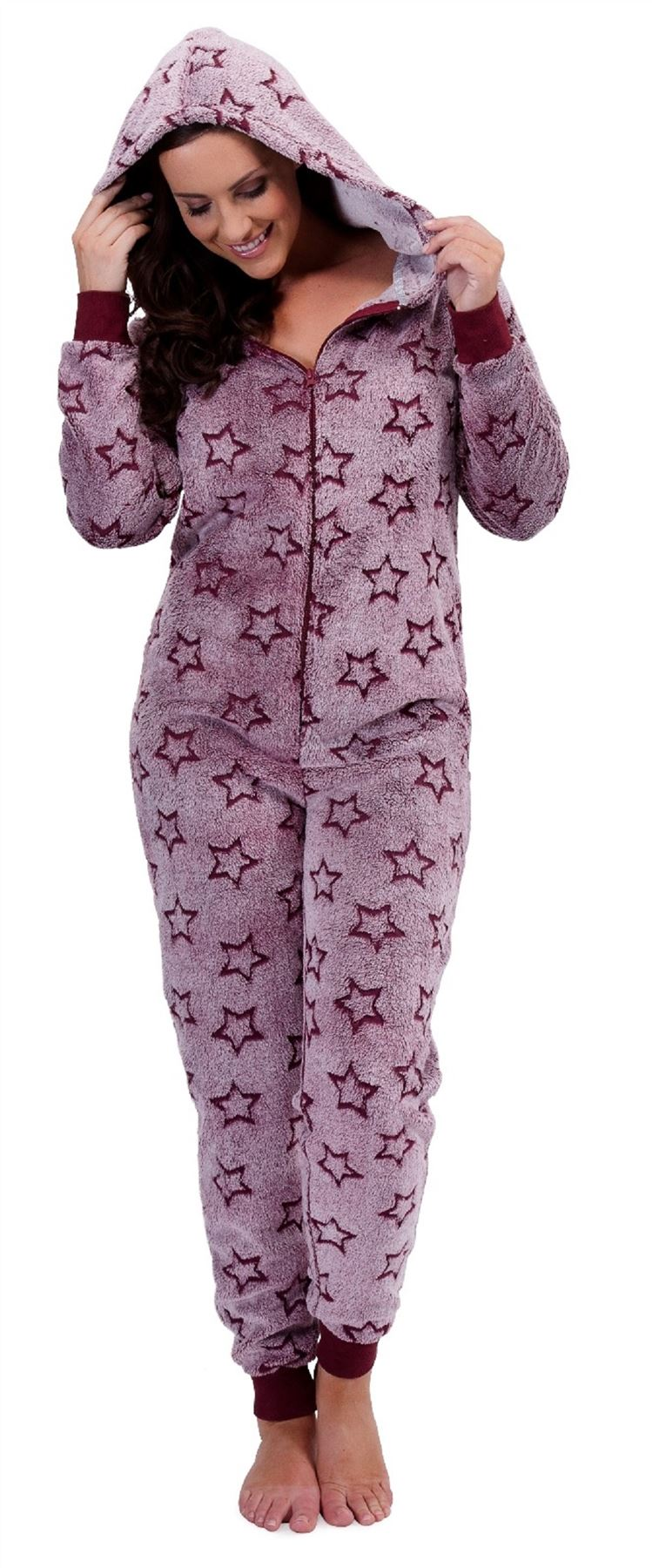 grenouill re femme de d tente combinaison ln636 soft one piece pyjama 8 10 12 14 16 18 ebay. Black Bedroom Furniture Sets. Home Design Ideas