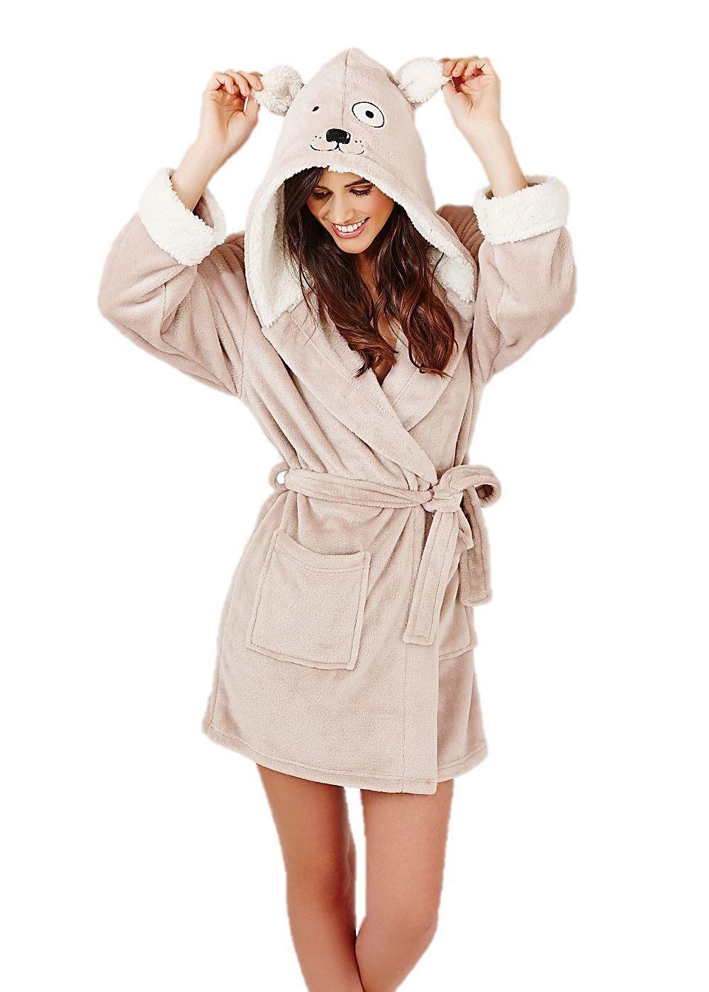 damen morgenmantel bademantel robe tier ebay. Black Bedroom Furniture Sets. Home Design Ideas