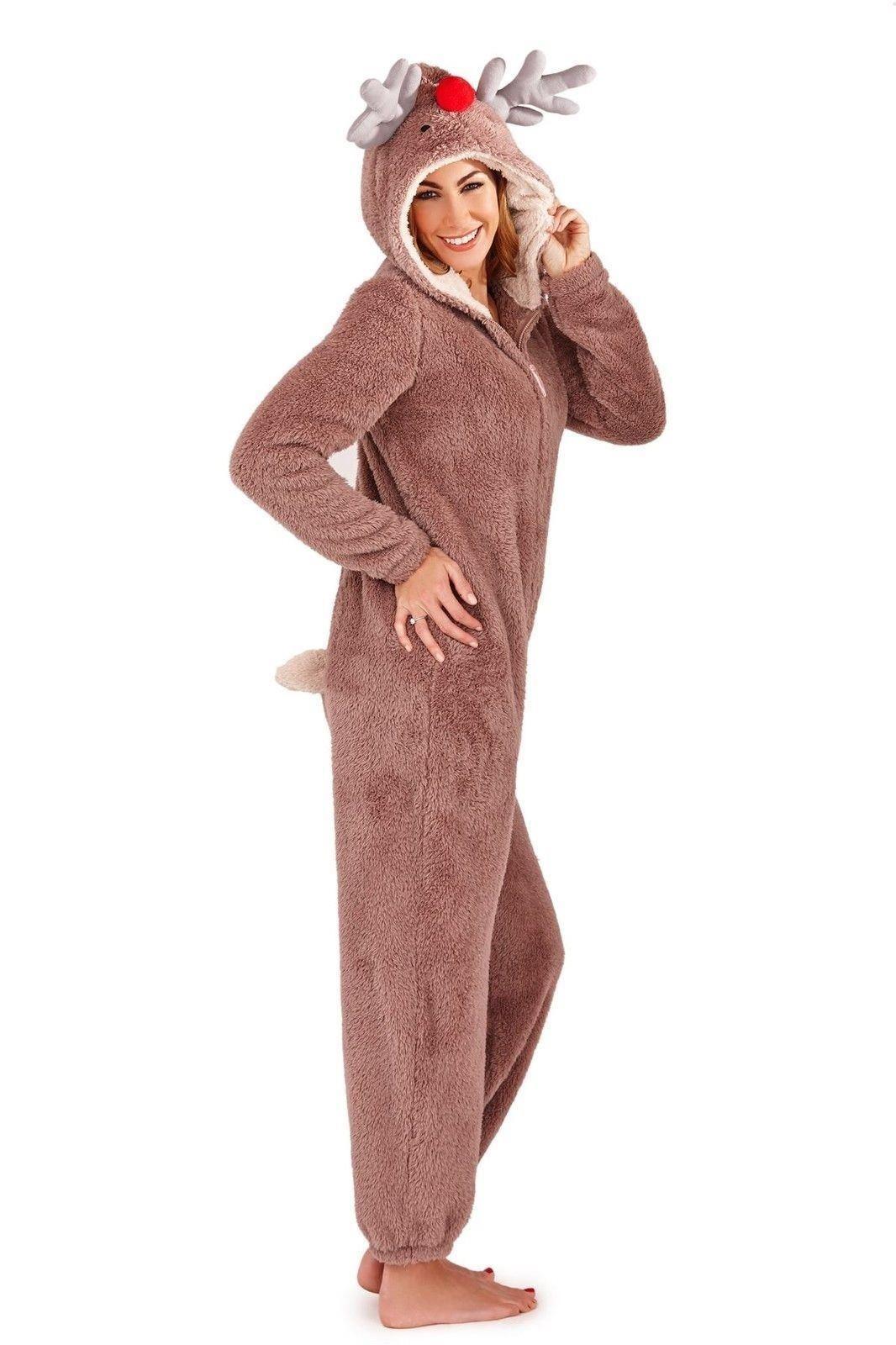 femmes renne polaire grenouill re no l une pi ce tout en un combinaison pyjama ebay. Black Bedroom Furniture Sets. Home Design Ideas
