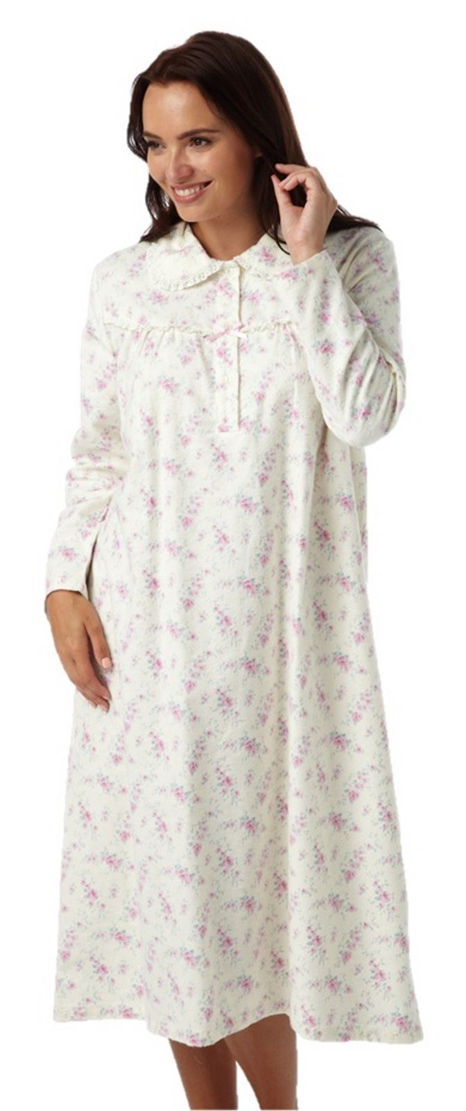 Our elegant and classic ladies long sleeve nightdress is a very soft pretty % cotton lawn, full length nightdress. With delicate embroidery around the cuff and neckline. Price £