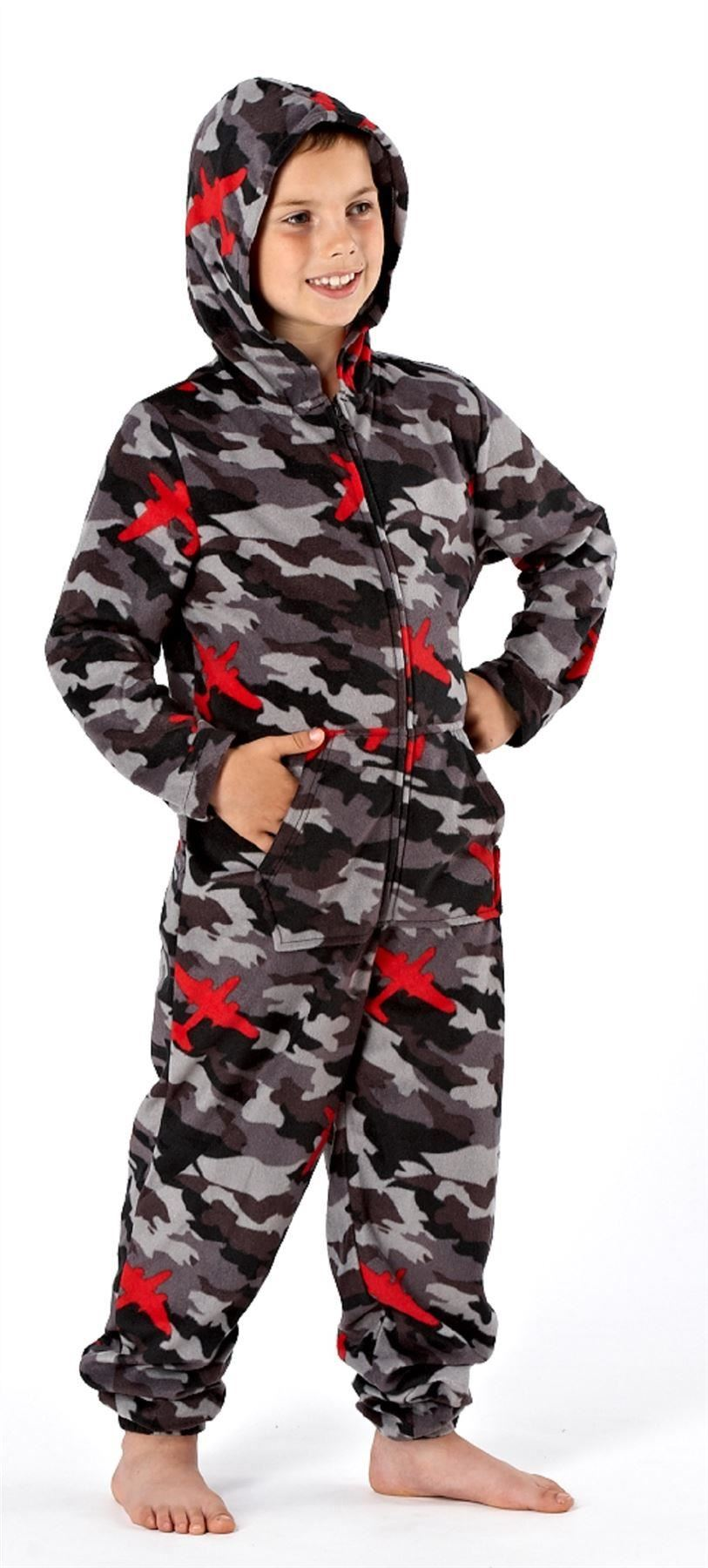 Boys Camo Onesie All In One Sleepwear Pyjamas Pajama One Piece ...