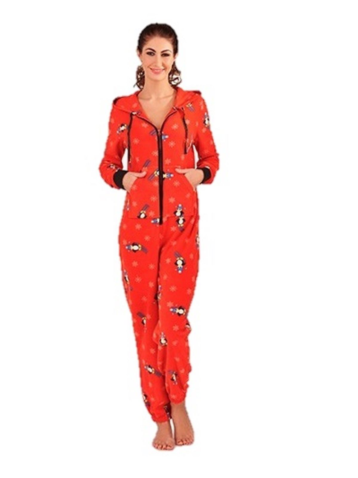 damen fleece einteiler onesie kapuzen fleece schlafanzug pinguin ebay. Black Bedroom Furniture Sets. Home Design Ideas