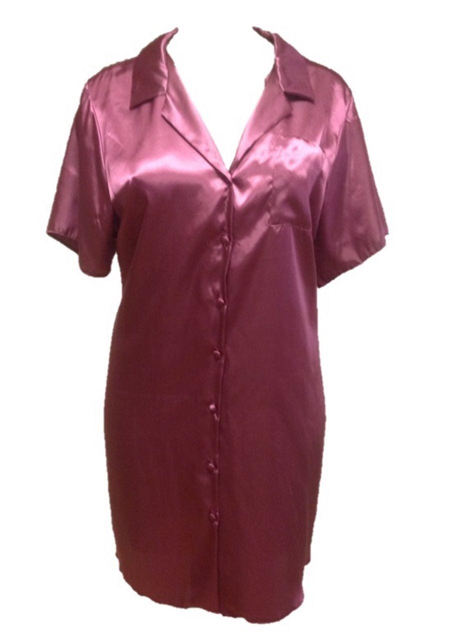 Ladies Womens Satin Silk Feel Nightshirt Sleep Shirt
