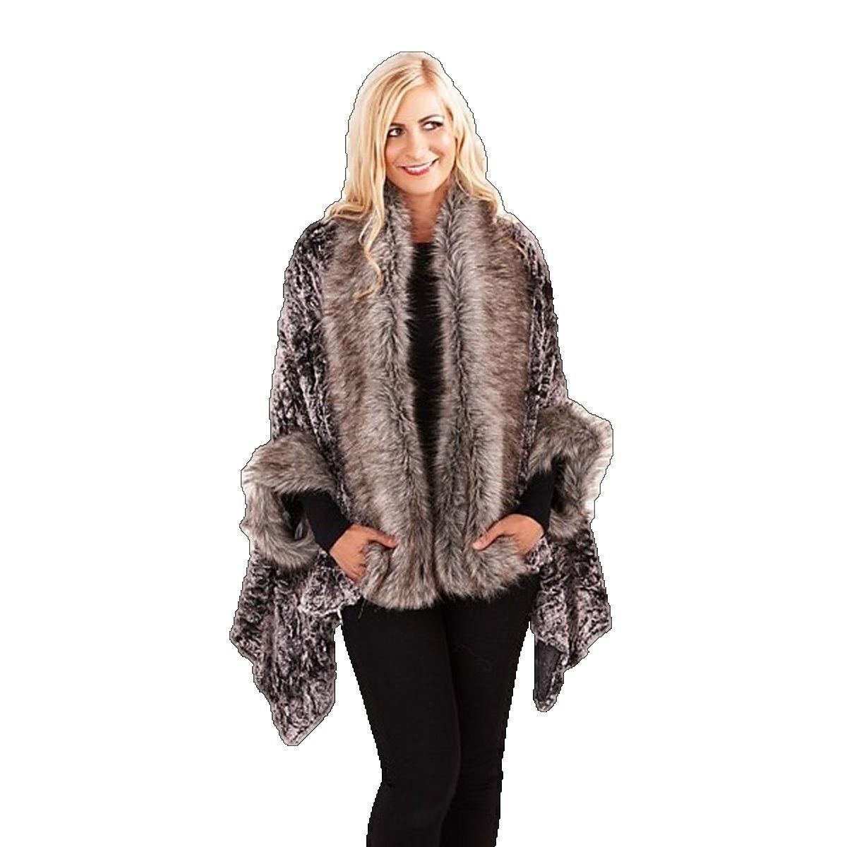 manteau drap femme fourrure synth tique poncho luxe velours ebay. Black Bedroom Furniture Sets. Home Design Ideas