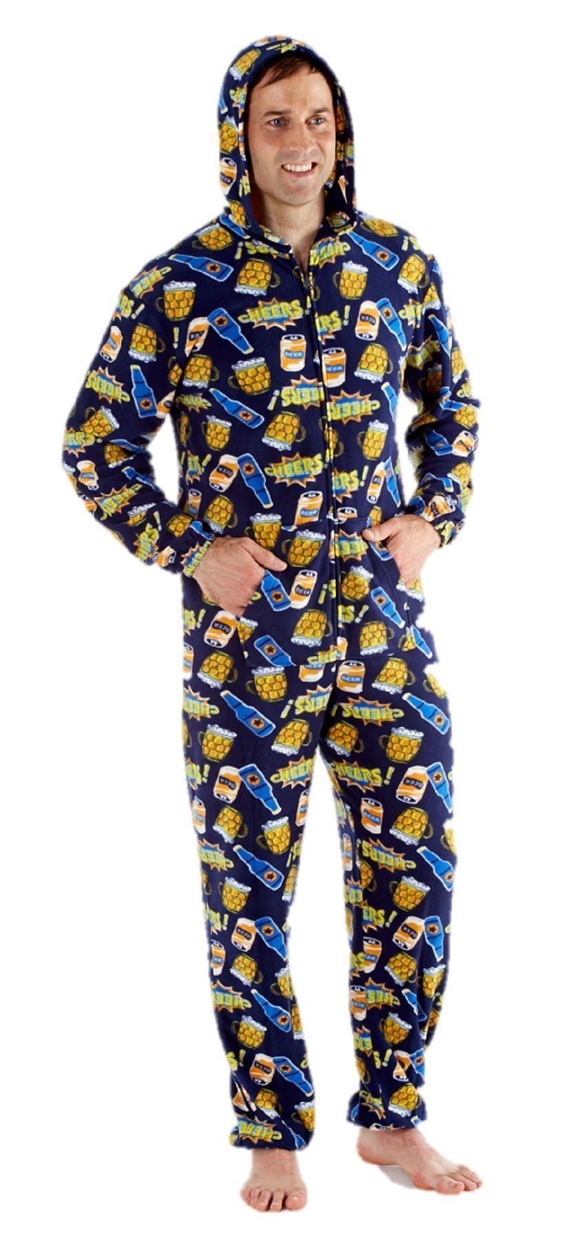 mens onesie all in one pyjama pajama one piece s m l beer novelty gift ebay. Black Bedroom Furniture Sets. Home Design Ideas