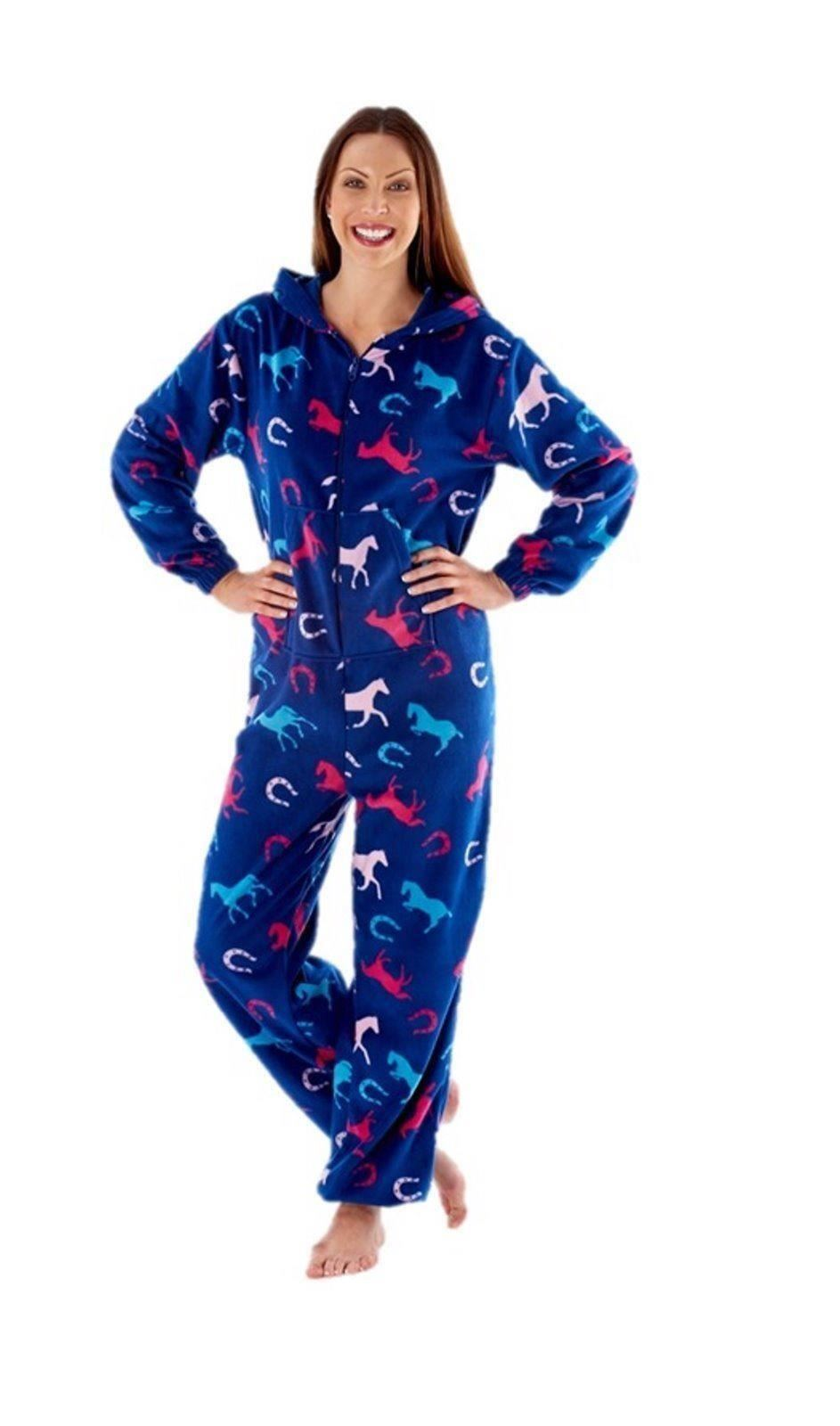 ladies womens fleece horse onesie sleepwear nightwear pyjamas one piece pajama ebay. Black Bedroom Furniture Sets. Home Design Ideas