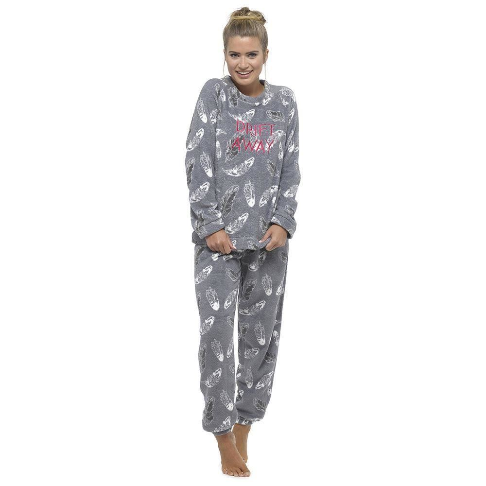 damen pyjama schlafanzug fleece gr e weichen 36 38 40 42. Black Bedroom Furniture Sets. Home Design Ideas