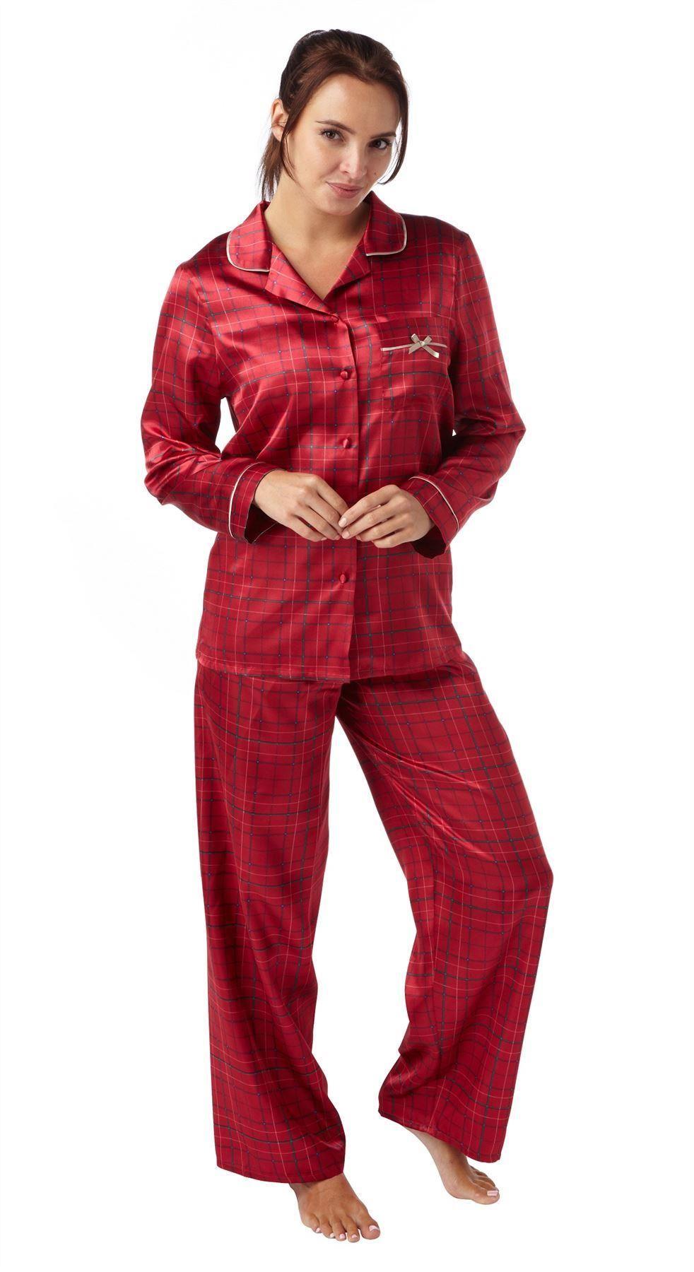 damen satin seide schlafanzug pyjama nachtw sche ebay. Black Bedroom Furniture Sets. Home Design Ideas