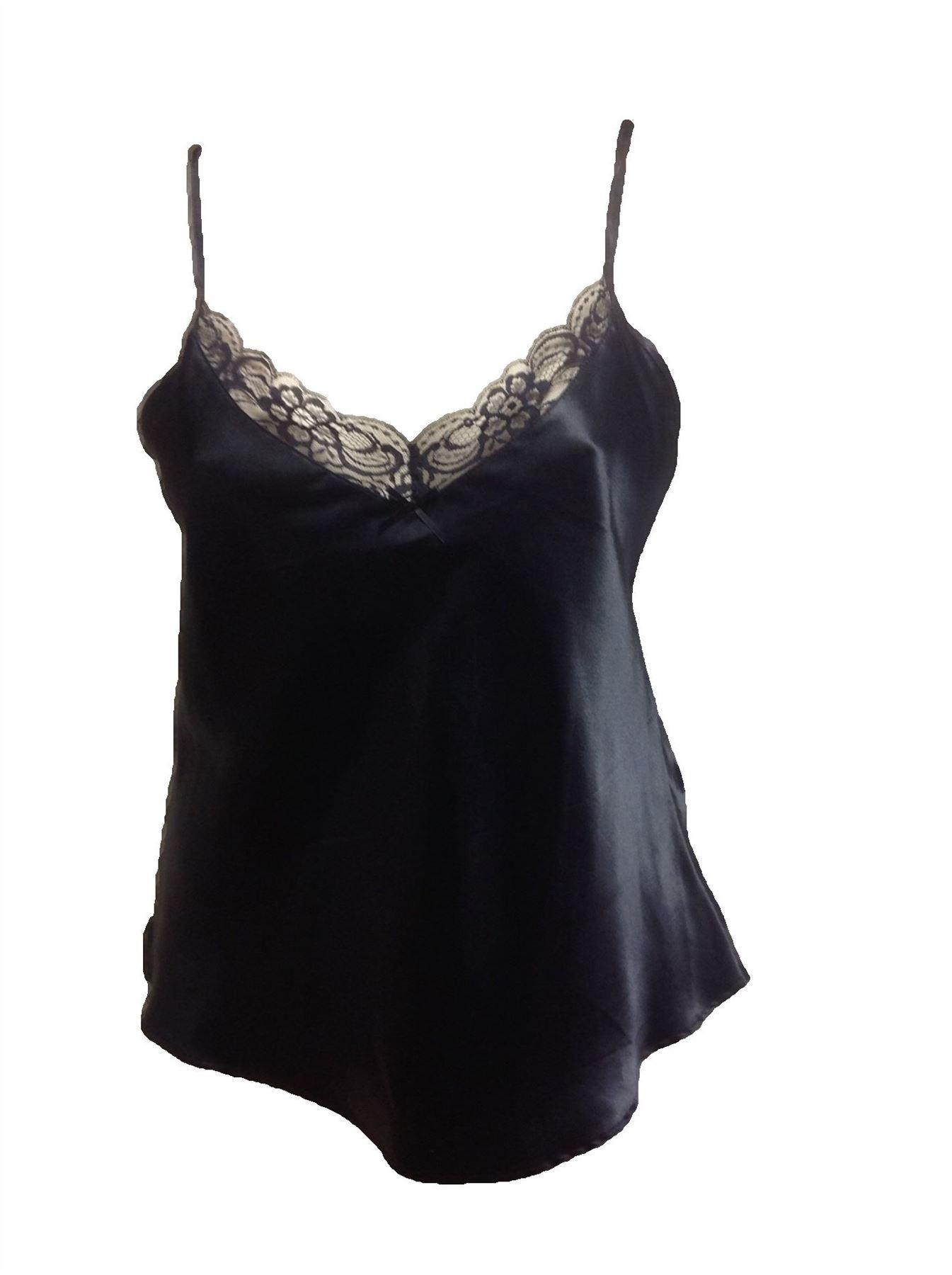 Black Satin Cami Top Silk Camisole Vest Lingerie Deep Lace ...