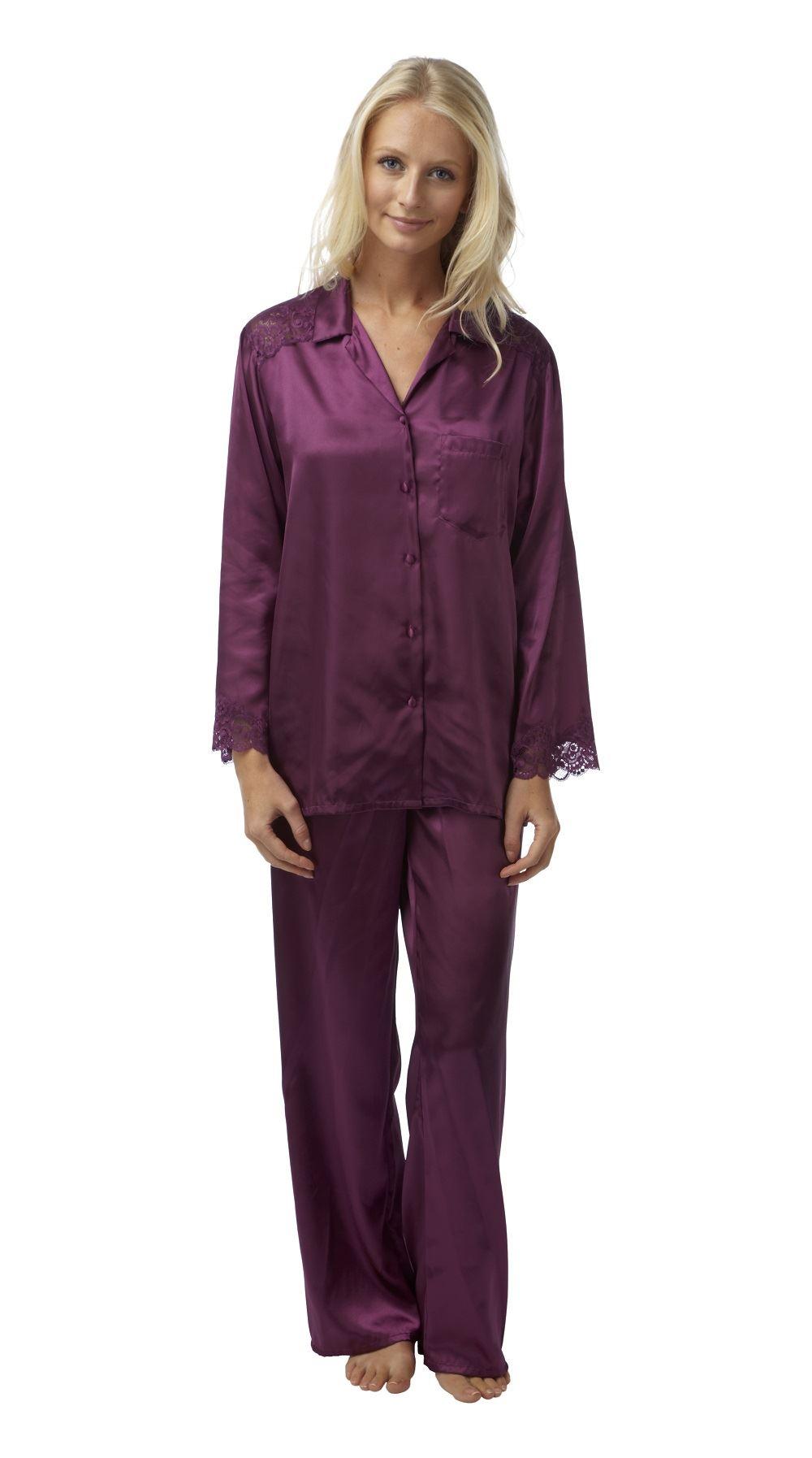 ladies satin pyjamas pajama plus size 18 20 22 24 26 28. Black Bedroom Furniture Sets. Home Design Ideas