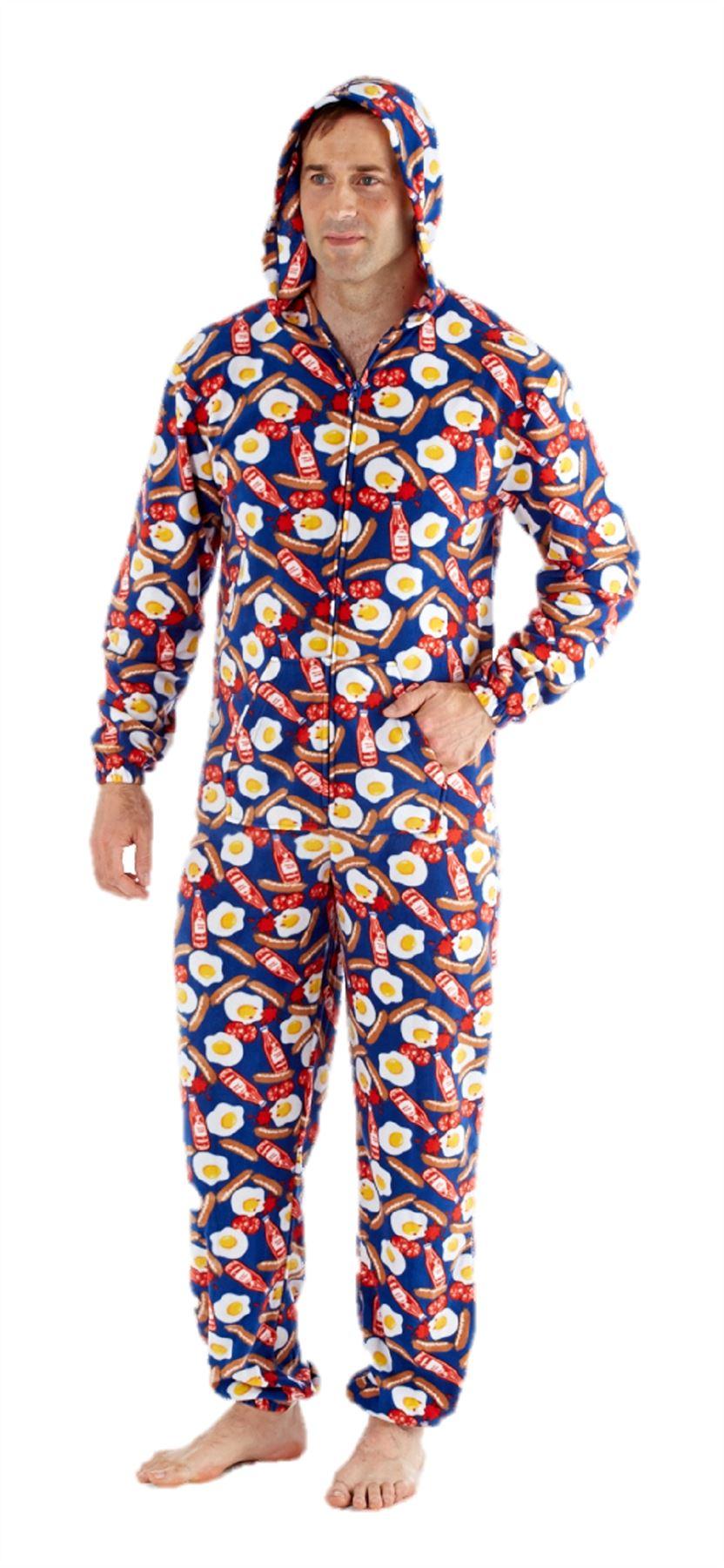 mens onesie all in one pyjama pajama one piece romper s m l breakfast ebay. Black Bedroom Furniture Sets. Home Design Ideas