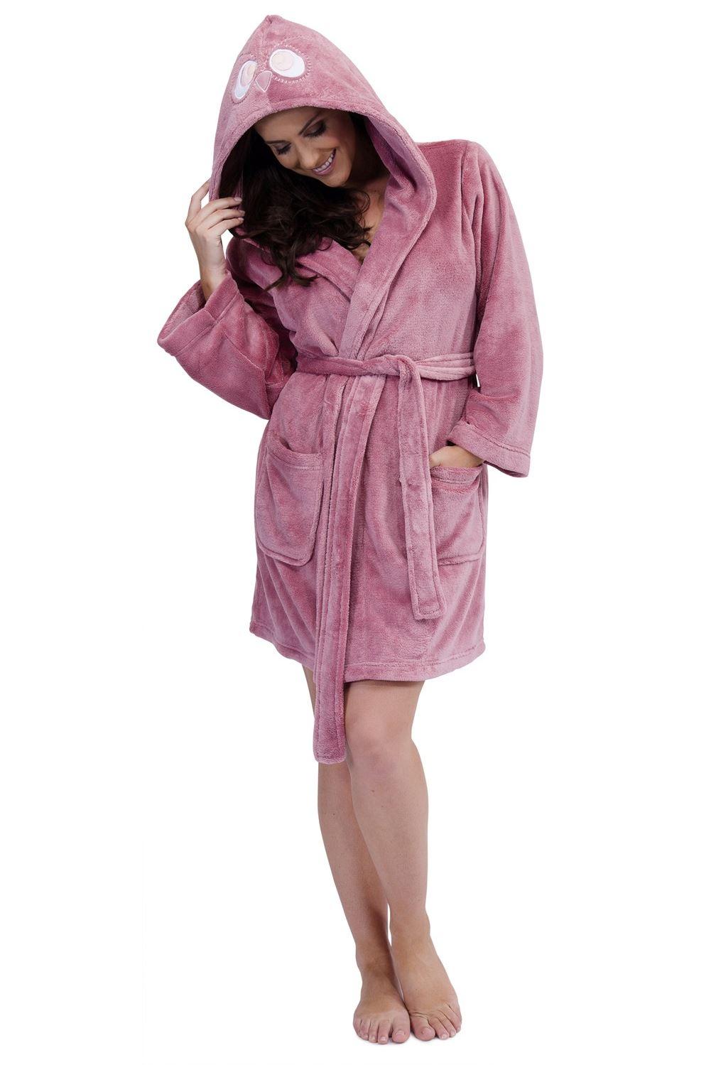 ladies fleece dressing gown soft hooded robe 10 12 14 16 18 20 ebay. Black Bedroom Furniture Sets. Home Design Ideas