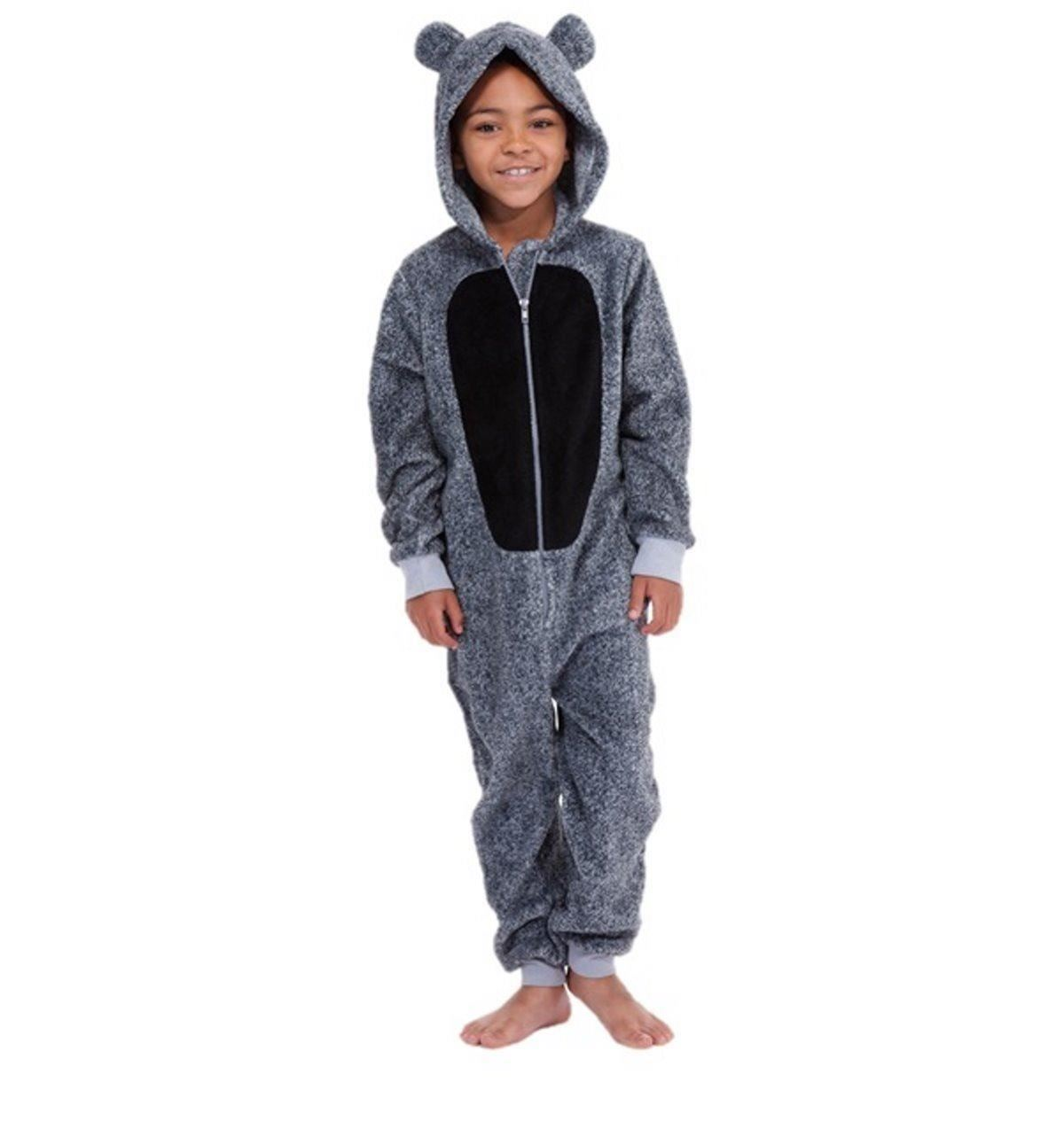 Children's microfleece, polar fleece or coral fleece onesie with a printed design/transfer print. The all in one has a hood, zip up front and ribbed cuffs and ankles. 13 Years (to fit height cm).