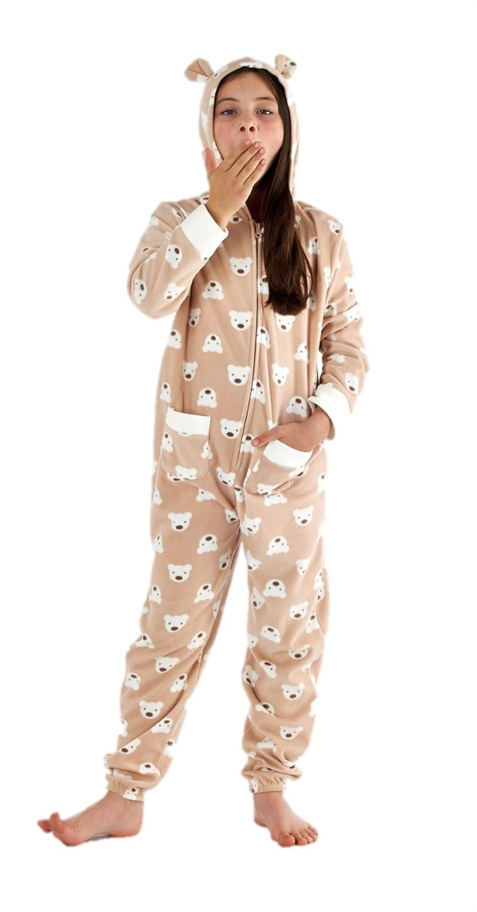 les filles de ceux de tous dans one piece hoodie pyjama pyjama 10 12 14 16 18 20 teddy ebay. Black Bedroom Furniture Sets. Home Design Ideas