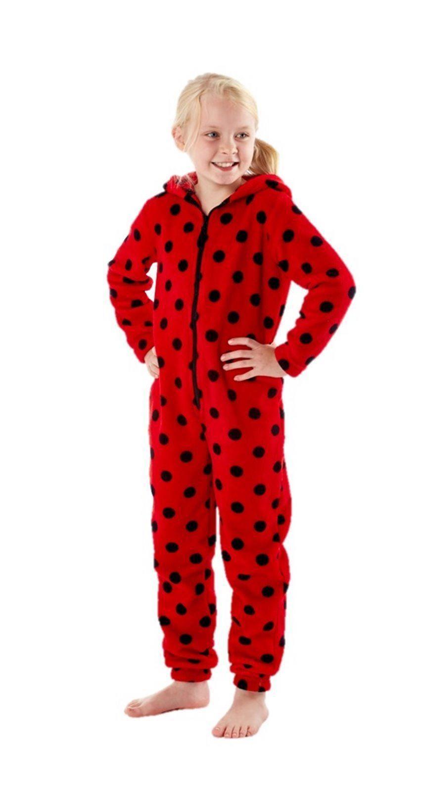 girls fleece hooded animal bug onesie one piece pajama pyjamas sleepwear ebay. Black Bedroom Furniture Sets. Home Design Ideas