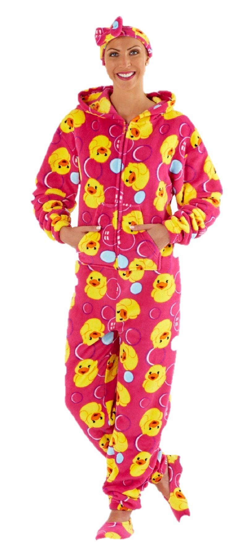 ladies fleece onesie pyjamas one piece pajama free. Black Bedroom Furniture Sets. Home Design Ideas