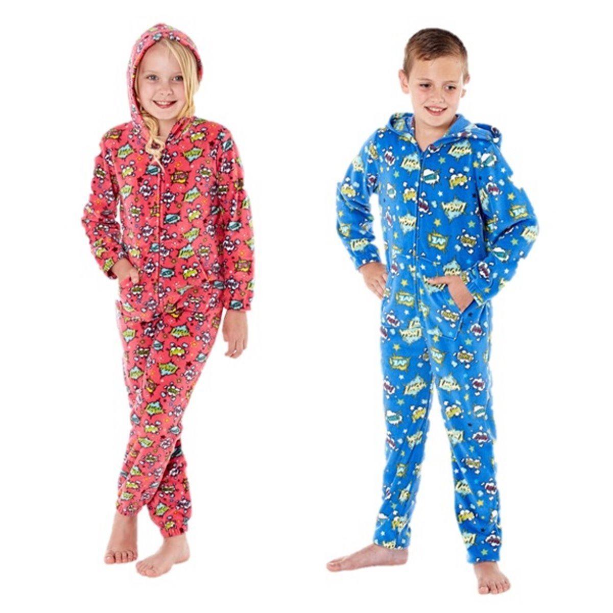 boys girls onesie fleece all in one pyjamas one piece. Black Bedroom Furniture Sets. Home Design Ideas