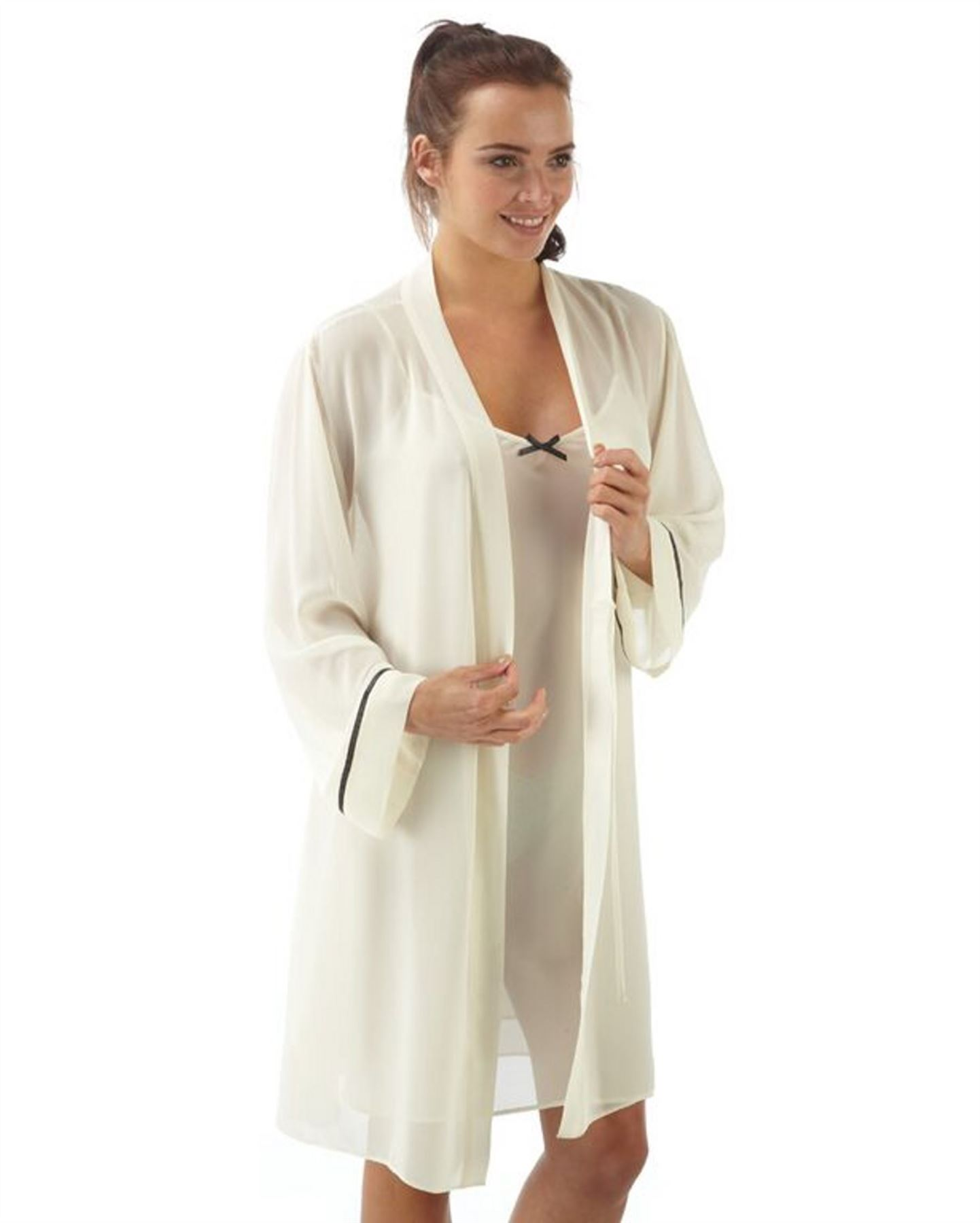 damen kimono morgenmantel negligee set chiffon 38 40 42 44. Black Bedroom Furniture Sets. Home Design Ideas