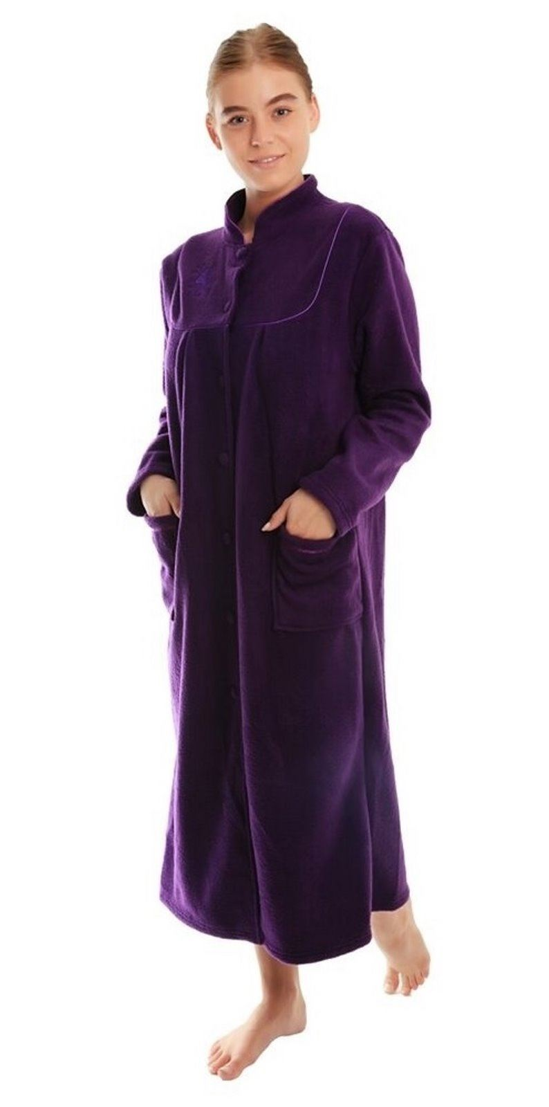 peignoir robe de chambre polaire femme taille 10 12 14 16. Black Bedroom Furniture Sets. Home Design Ideas