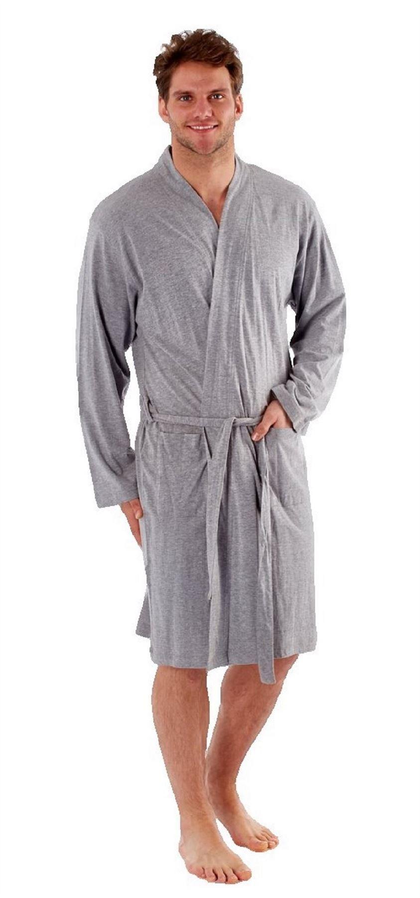 Mens Robe Dressing Gown Kimono Cotton Bathrobe 40 42 44 46