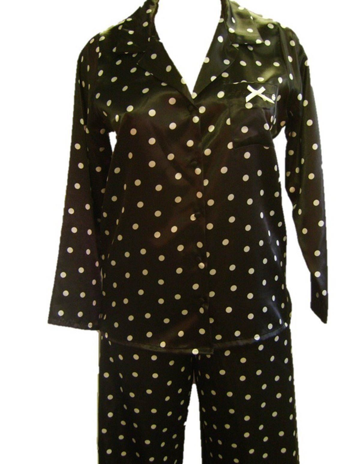 Black Silk Pajamas: Ladies Womens Black Satin Pyjamas PJs Pajama Set Nightwear