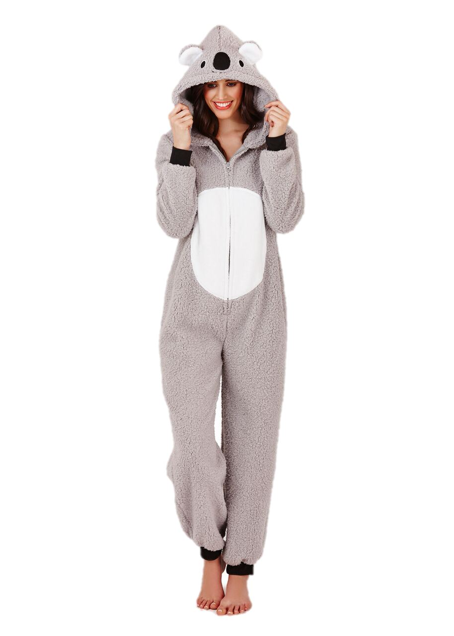 pyjama combinaison une pi ce femme fille polaire capuche koala chaud ebay. Black Bedroom Furniture Sets. Home Design Ideas