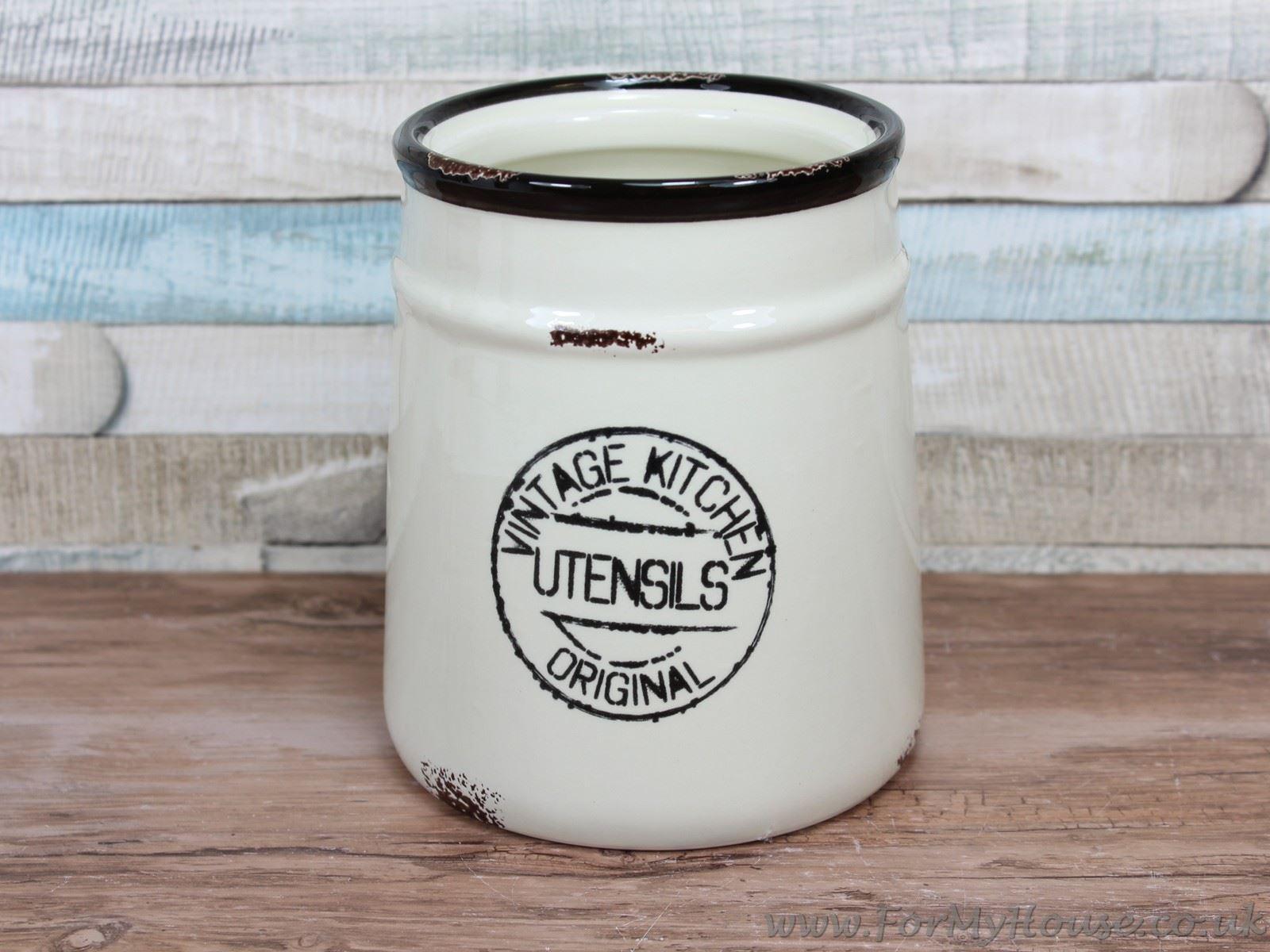 vintage kitchen cream ceramic rustic utensils canister bol com rivi 232 ra maison kitchen utensils canister