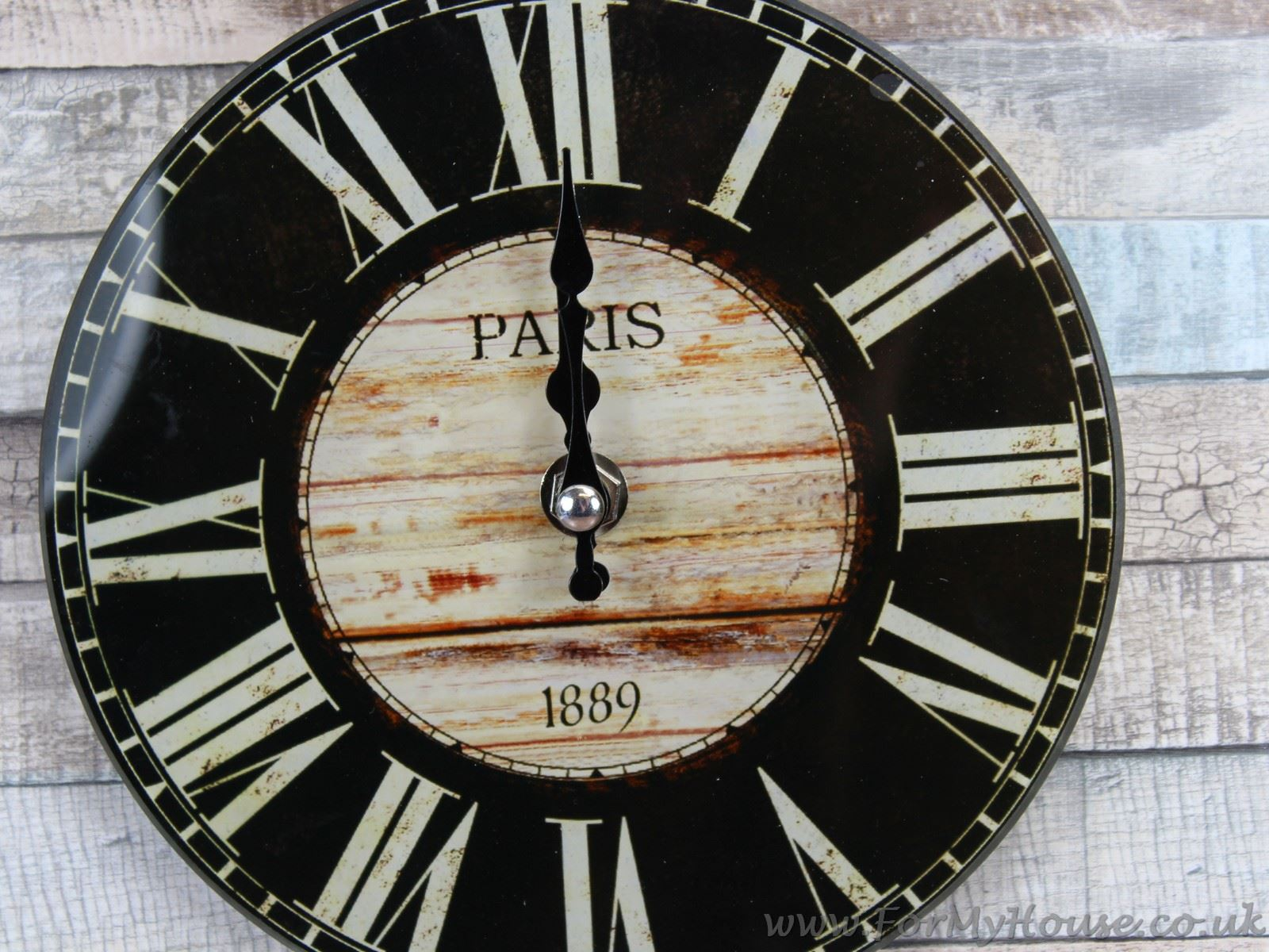 Antique style black cream small glass wall clock 17cm ebay for Black glass wall clock